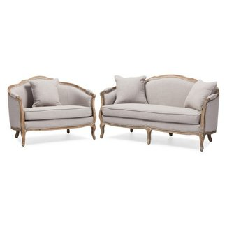 Baxton Studio Chantal Sofa and Loveseat Living room Set