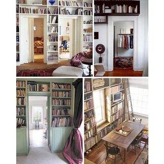 Beautiful Overhead Bookcases: Space-Saving Shelving Ideas