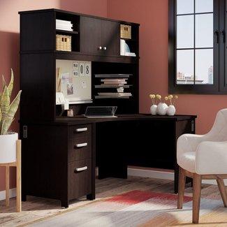 Benter Corner Computer Desk with Hutch