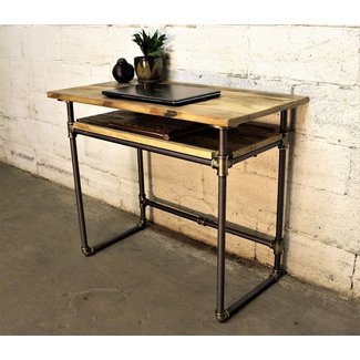 Berkeley Industrial Vintage Home Office Mid Century Writing Computer Pipe Desk With Lower Shelf With Reclaimed Aged Sustainable Wood