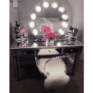 Makeup Vanity Table With Lighted Mirror You'll Love in ...