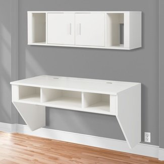 Best Choice Products Designer Floating Desk With Hutch Wall Mounted Computer Desk