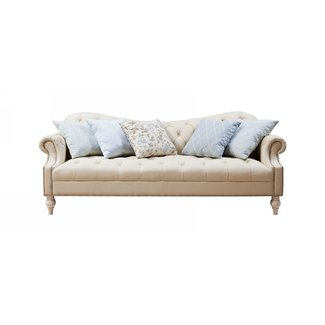 BF8311 Traditional French Country Leather and Fabric Sofa