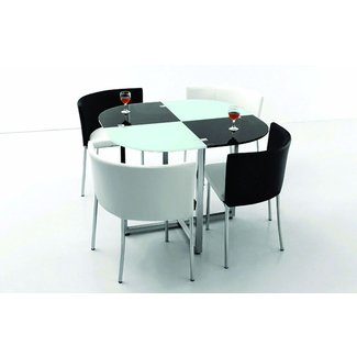 Black and white space saving dining room table and chairs