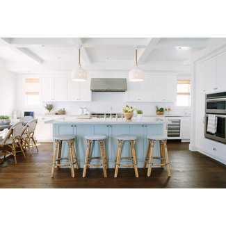 Blue Kitchen Island with Serena and Lily Riviera Backless ...