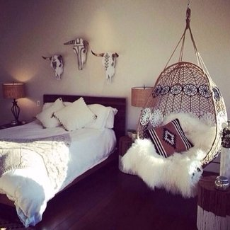 Boho bedroom | how wonderful to have a hanging chair