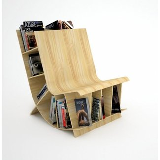 Bookseat Reading Chair With Space Saving Bookshelf ...