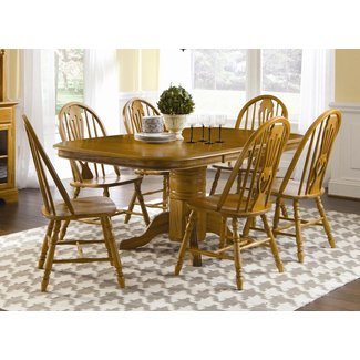 Brooks Furniture Traditional 1724272-0618M Laminated Top Square Round Pedestal Table with 2 Leaves and 6 Sweetheart Side Chairs, Medium, Oak Finish