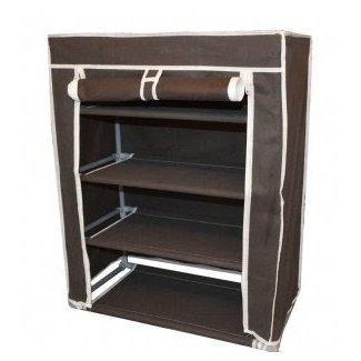 Brown Color Portable 4 Tiers Shoe Rack Storage And Shelves