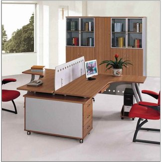 Brown Plywood Veneered Double Desk For Two Person With ...