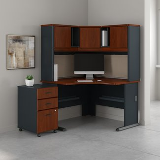 "Bush Business Furniture Series A 48"" by 48"" Corner Desk with Hutch and 3 Drawer Mobile Pedestal, Hansen Cherry"