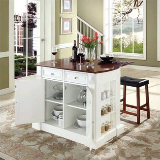 Buy Breakfast Bar Top Kitchen Island with Cherry X-Back Stools