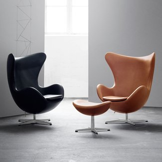 Buy the Fritz Hansen Egg Lounge Chair - Leather at