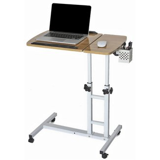 CA&HomeDecor Angle&Height Adjustable Mobile Laptop Desk Cart Home Office Desk Overbed Hospital Table Stand