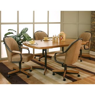 Caster Chair Company 5 Piece Dining Set With Swivel