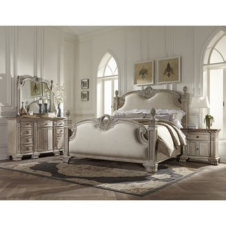 Chatelet Cal King Poster Bedroom Set - White Vintage Wash with Weathered Brown Top