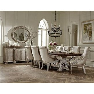 Chatelet French Style Dining Furniture in White Vintage Wash with Weathered Brown Top