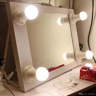 Chende White Hollywood Makeup mirror with lights Illuminate Vanity Make Up Beauty Mirror