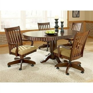 Chesterfield Dinette Set~Rnd Table Swivel Padded Chairs w ...