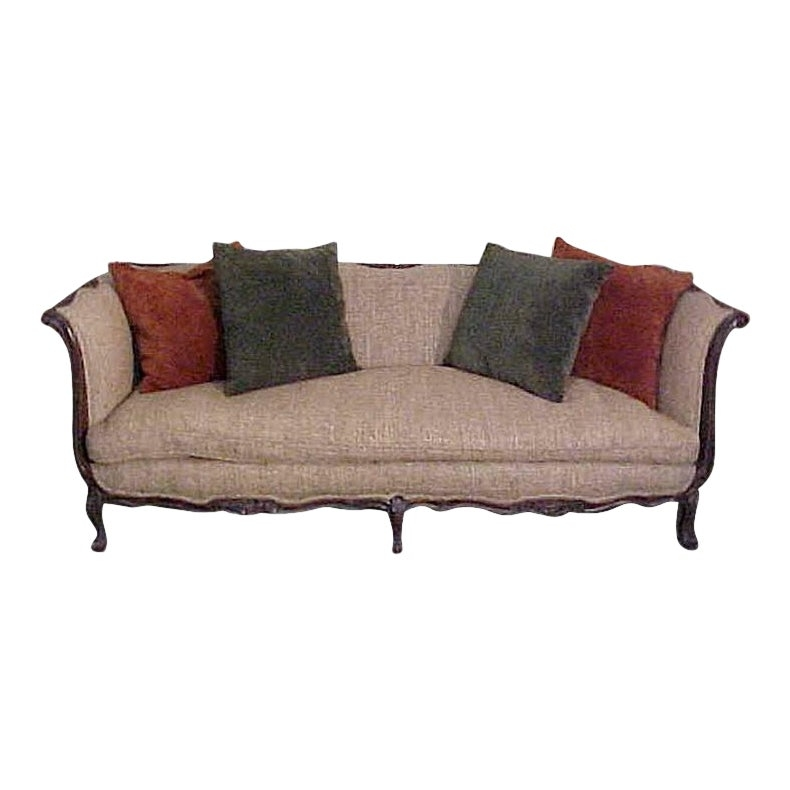 Chic French Country Walnut Sofa Tussah Silk Upholstery .