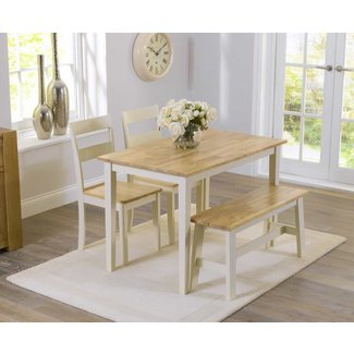 Chiltern 115cm Oak and Cream Dining Table with Bench and
