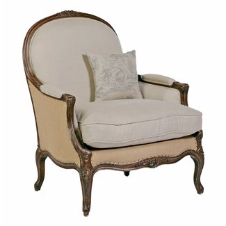 Chloe Oversized French Country Burlap Linen Bergere Accent ...