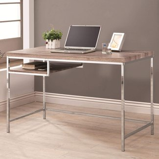 Chrome Finish Computer Desk with Reclaimed Wood Look Top ...