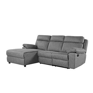 Classic Traditional Small Space Reclining Sectional Sofa, L-Shape Recliner Couch