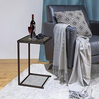 "Cloud Mountain 15"" x 15"" Coffee Tea Tray PE Wicker Side Sofa End Table, Brown Rattan Square Glass Furniture, Rectangular Snack Table"