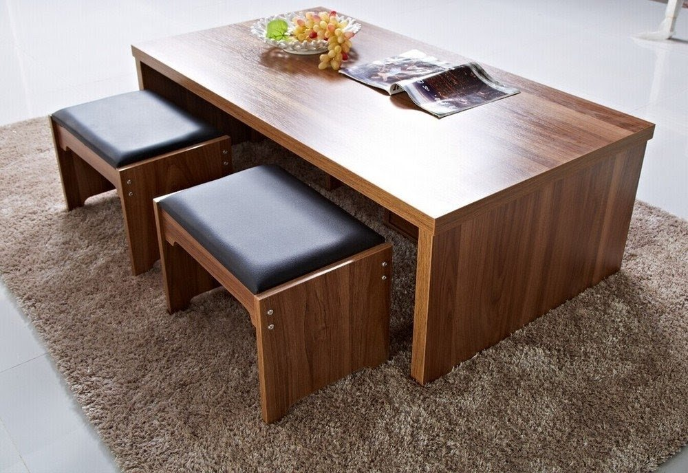 Genial Coffee Table, Square Coffee Table With Stools Underneath .