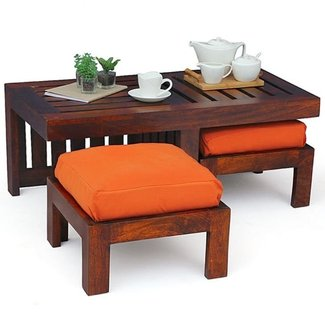 Coffee Table with Stools Invites More Friends to Hang Out