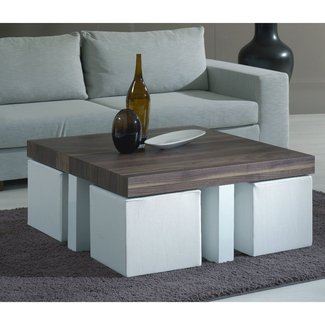 Coffee table with stools -- love this idea for stools