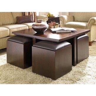 Coffee Table With Storage Stools Design Ideas