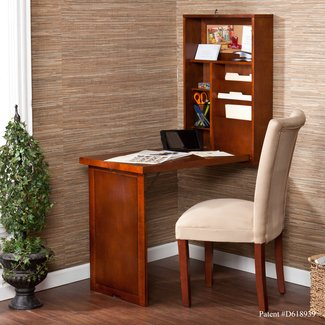 Computer Desk - Fold-out Convertible Desk Walnut- Laptop Computer Desk Wall Mounted Top Half Convenient Storage Bottom H