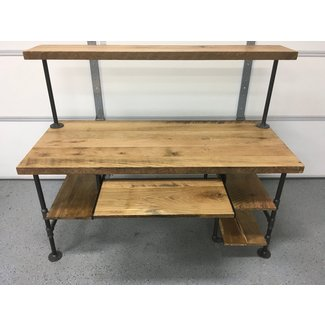 Computer Desk. Natural Finished Reclaimed Wood Table Rustic