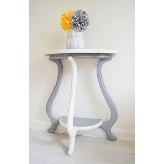 Console Table Grey & White Wood Half Moon Demilune Shabby