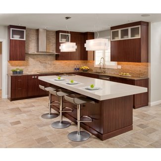 Contemporary Kitchen Design With Functional Brown Kitchen ...