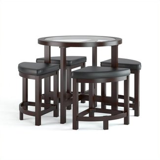 CorLiving DBG-699-K Belgrove Dark Espresso Stained Dining Table with 4 Stools