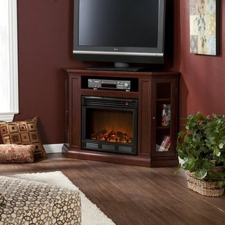Corner Electric Fireplace Heater Media Console Stand LCD ...