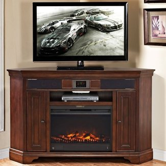 corner electric fireplace tv stand visual hunt. Black Bedroom Furniture Sets. Home Design Ideas