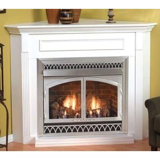 CORNER FIREPLACES: VENTLESS GAS FIREPLACE CORNER WHITE