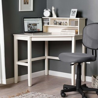 Corner Laptop Writing Desk with Optional Hutch - Vanilla ...
