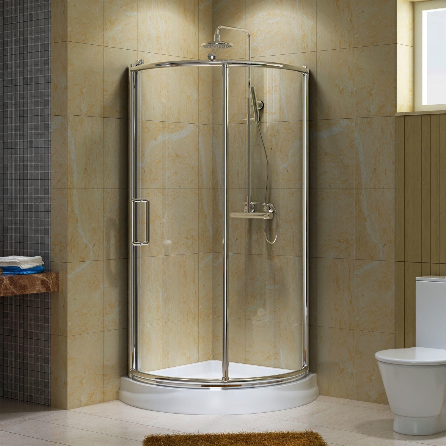 Small Bathroom Corner Shower Stall - Interior Design 3d •
