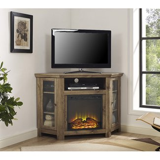 Corner TV Stand with Electric Fireplace | Wayfair