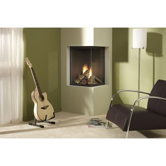 Corner Ventless Gas Fireplace - Open Travel