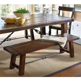 Counter Height Dining Bench Rustic Solid Wood Table