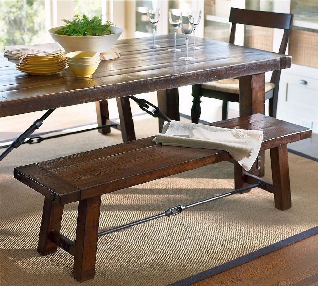 Counter Height Dining Bench Rustic Solid Wood Dining Table .