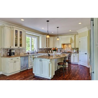 Country Style White Kitchen Cabinets With Antique Brown ...