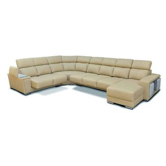 Cream Italian Leather Extra Large Sectional with Cup ...