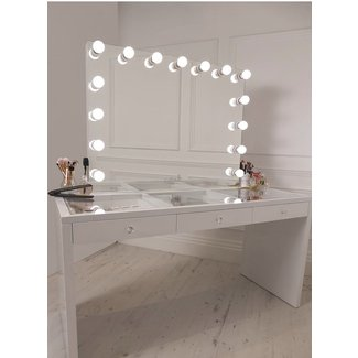 crisp white finish Slaystation make up vanity with premium ...